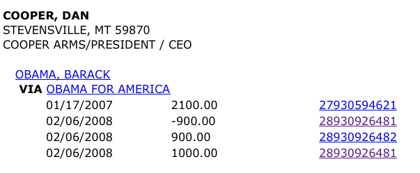 Dan Cooper - $3100 to Obama