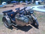 World War II era BMW motorcycle with sidecar. Mounted is an MG38 machine gun.
