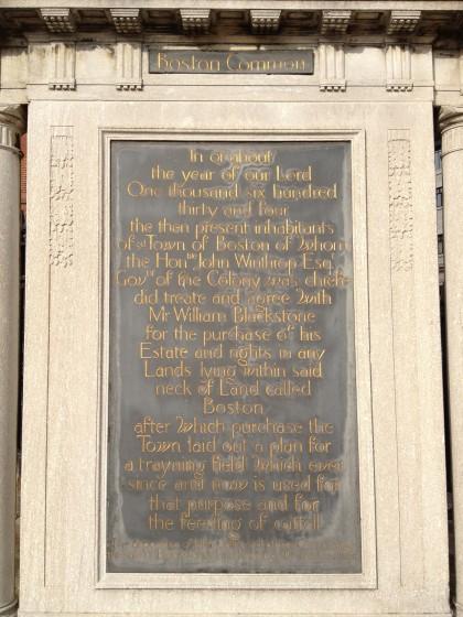 Boston Commons Plaque